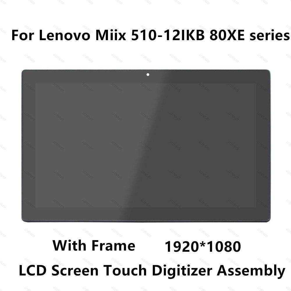 12.2 pouce Plein LCD LED Panneau D'affichage de L'écran Tactile En Verre Digitizer Assemblée avec Cadre Lunette Pour LenovoMiix 510-12IKB 80XE série