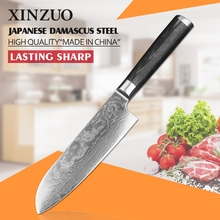 XINZUO 7″ inch santoku knife Chinese 73 layers Damascus steel kitchen knife sharp chef knife pakka wood handle free shipping