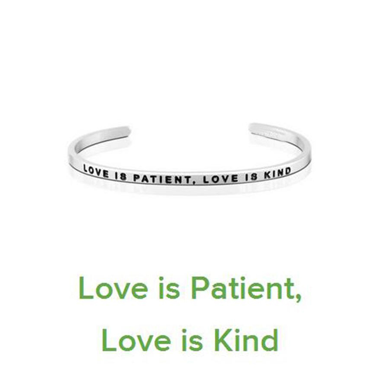 Follow your heart 316L Titanium Stainless Steel Love Cuff Bangle Mantra Bracelets Bangles For Women Brand Designer Jewelry
