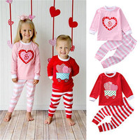 NEWBABY 2017 Hot Children Family Boys Girls Christmas Pajamas Sleepwear Pjs Suit Red Pink Striped Pants