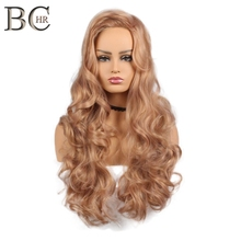 BCHR Long Wavy Synthetic Wig For Women Ombre Wig Rose Gold Color Wigs 22 Inch High Temperature fiber Free Shipping