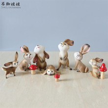 Cartoon Easter Rabbit Figures Figurines Artware Resin Cute Bunnies Ornaments Doll Home Decor 3 Pcs/set Free Shipping