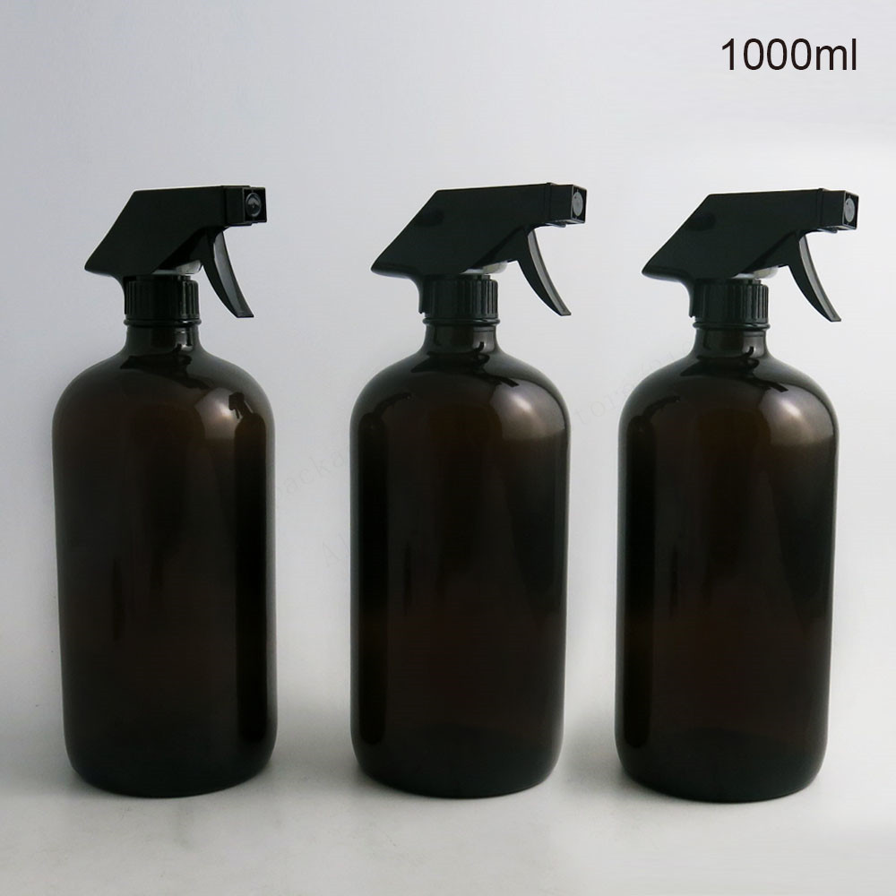 2pcs 1000ml Large Refillable 33Oz Amber Glass Spray Bottles for cleaning aromatherapy essential oil with black trigger spray top