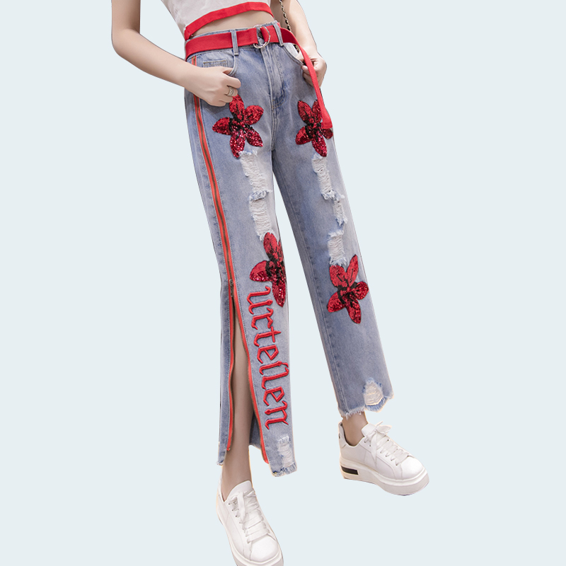 Bottoms Symbol Of The Brand High Waist Women Fashion Wide Leg Casual Summer Loose Trousers Rose Skeleton Printing Fashion Hot Street Wear Fashion Pants