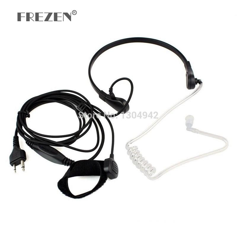 Throat Mic Microphone Covert Acoustic Tube Bodyguard FBI Earpiece Headset With Finger PTT 2PIN For Icom Maxon Yaesu Vertex Radio