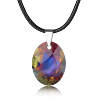2017 new mother's day gift quality leather cord waterdrop pendant necklace with crystal from swarovski wholesale bijoux