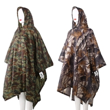 3in1 Outdoor Backpack Rain Cover Poncho Coat Camouflage Tent Awning Mat Camping Tool Equipment