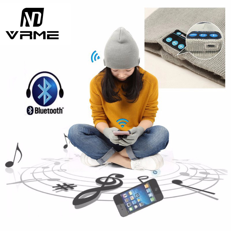 Vrme New Hot Sale Bluetooth Knitted Hat Headphone Wireless Music Hat earphone Headset Bass Stereo for iPhone 8 7 Xiaomi Samsung bluetooth headphone vrme sport earphone stereo music earbuds wireless bluetooth headset with microphone for iphone 7 5s xiaomi