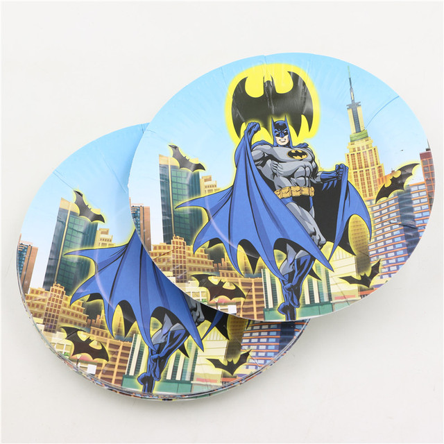 10pcs Disposable Batman Cartoon Party Tableware Paper Plate Boy Kids Birthday Party Dishes Decoration Baby shower & 10pcs Disposable Batman Cartoon Party Tableware Paper Plate Boy Kids ...