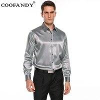 COOFANDY 2017 Top Selling Men S Long Sleeve Satin Button Down Dance Prom Dress Shirt
