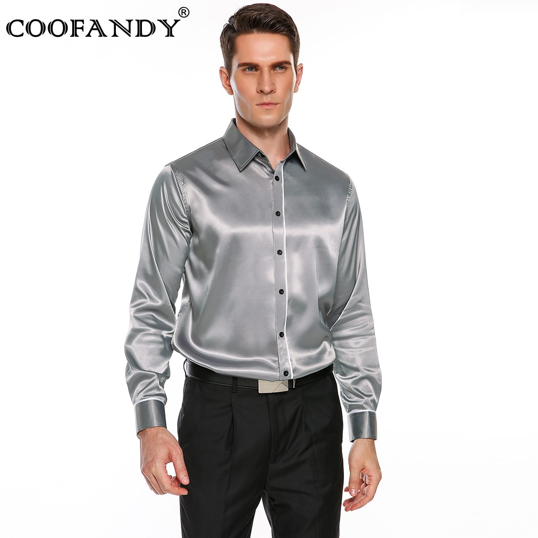 Coofandy 2017 top selling men 39 s long sleeve satin button for Best dress shirts 2017