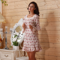 Long Sleeve Short Floral Nightgown for Women Sleepwear Country Vintage Style Nightgowns