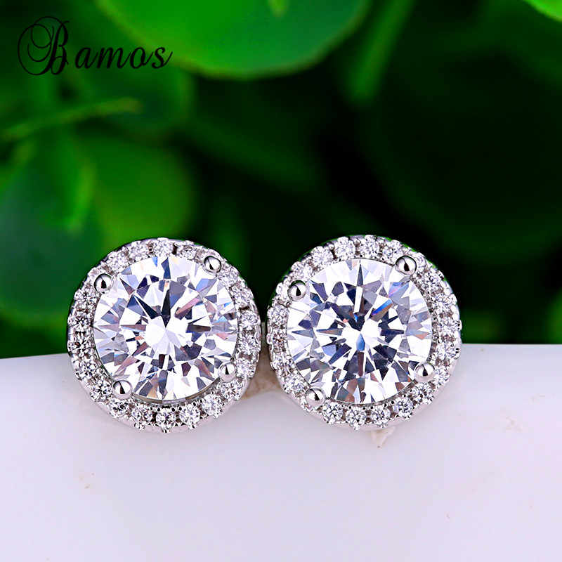 Bamos 925 Silver Filled Fashion Jewelry Round White AAA Zircon Earrings For Women Bridal Stud Earrings Best Christmas Gift HE021