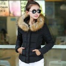 Поп-Новый Прекрасный зимний новый женский меховой воротник короткие хлопка проложенный куртка женская мода толщиной ватные вниз пальто плюс размер XXXL CP1156