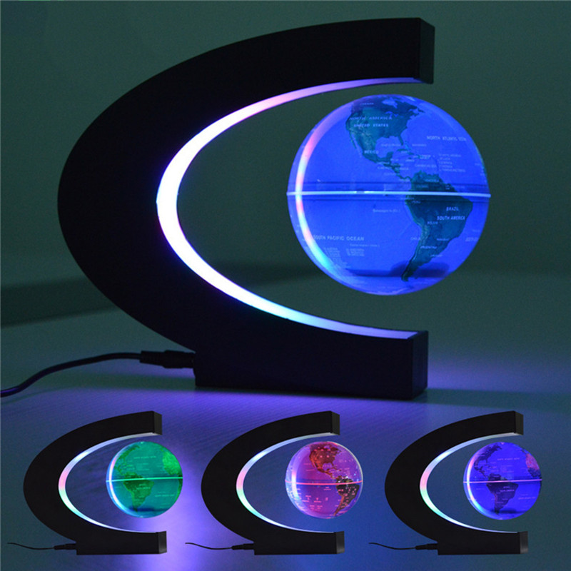 CHENGYILT led night light Floating Tellurion C Shape Magnetic Levitation Floating Globe World Map night lamp for home decoration magnetic floating levitation 3d print moon lamp led night light 2 color auto change moon light home decor creative birthday gift