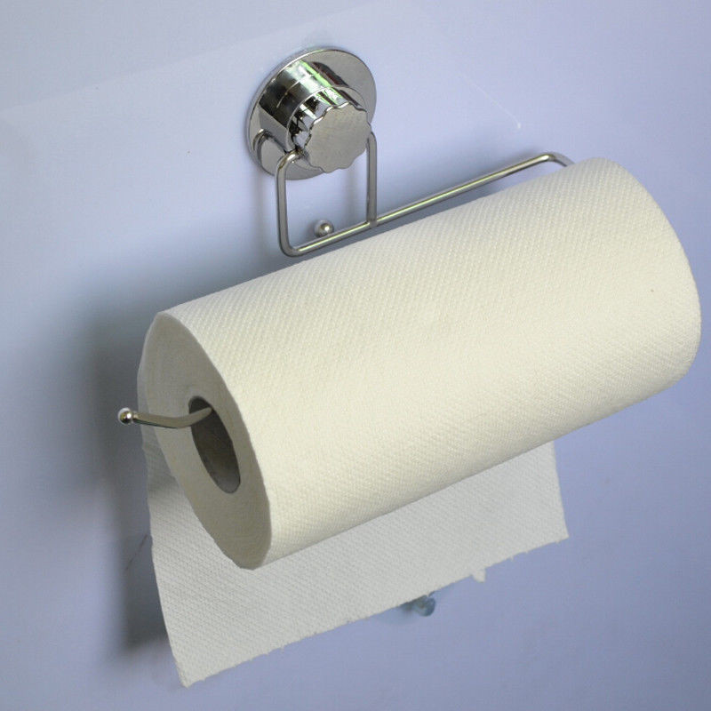 Bathroom:  1PC Bathroom Paper Towel Super Suction Storage Holder Racks Kitchen Pantry Super Suction Cup Racks - Martin's & Co