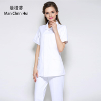 Summer white coat drugstore front desk medical beauty salon medical work uniform nurse service party doll collar split suit