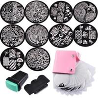 10 Nail Plates 1 Stamper 1 Scraper Storage Bag Nail Art Image Stamp Stamping Plates Manicure