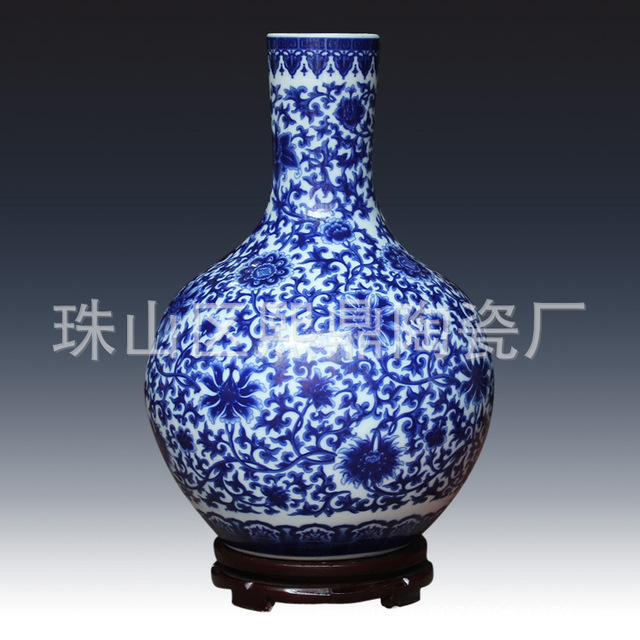 Jingdezhen Ceramic Crafts Upscale Celestial Blue Vase Jingdezhen