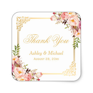 3.8cm Vintage Gold Frame Floral Thank You Wedding Favor