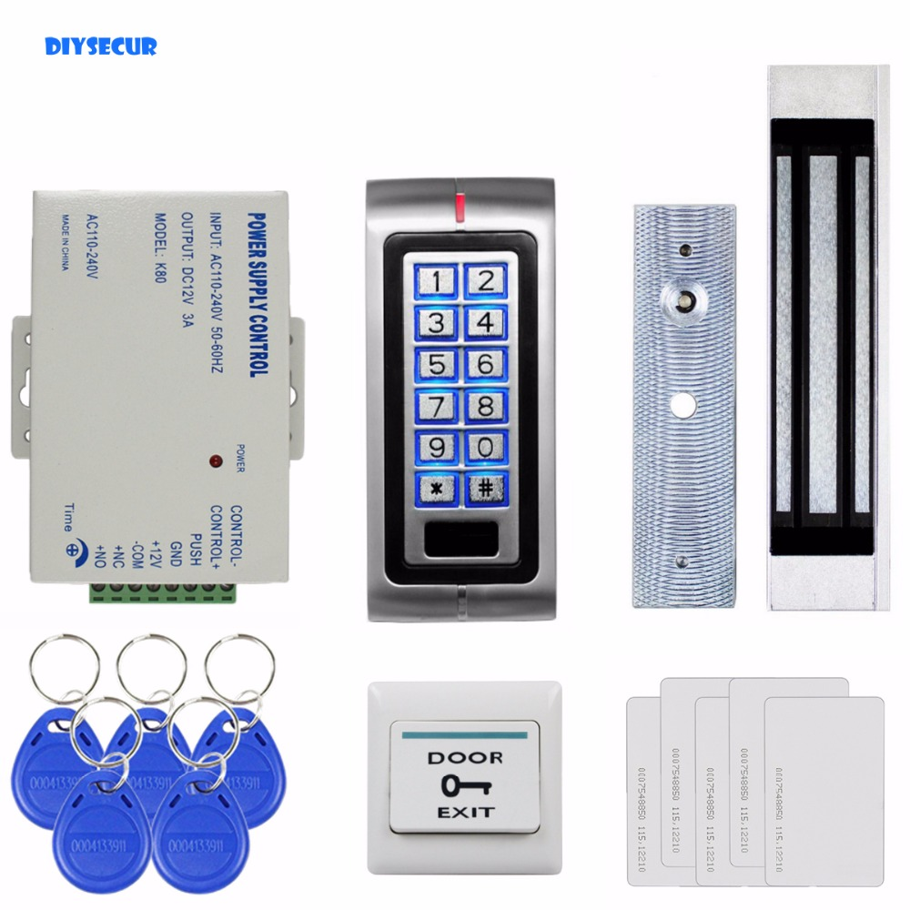 DIYSECUR 180kg 350lb Magnetic Lock 125KHz RFID Password Keypad Access Control System Security Kit + Exit Button K2 diysecur 125khz rfid reader password keypad access control system security kit 280kg magnetic lock door lock exit button
