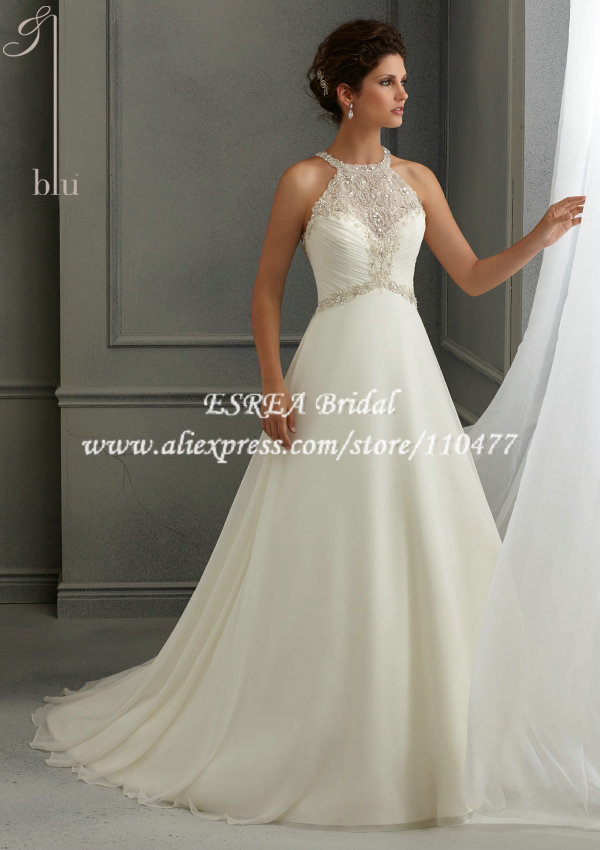 New Stylish Beaded Halter China A Line Wedding Dresses For Bride 2017 Bridal Gowns Off The Shoulder Mq060 In From Weddings Events On