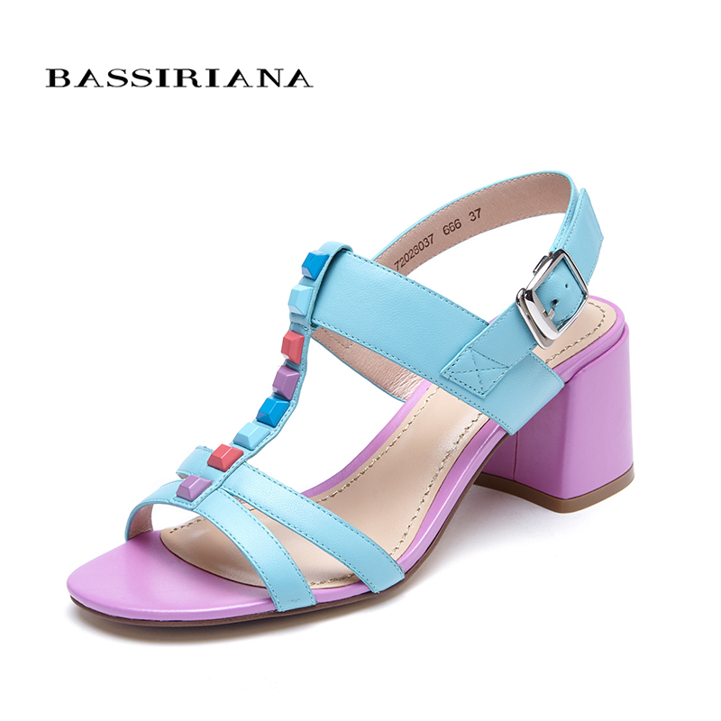New shoes woman high heels genuine leather sandals for woman square heel black blue 35-40 Free shipping BASSIRIANA sandals new summer 2017 basic shoes woman open back strap sandal square heel fashion beige black 35 40 free shipping bassiriana
