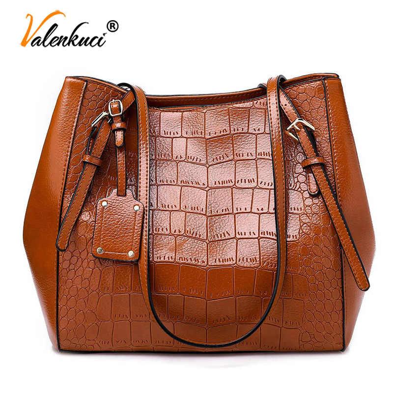 d96fb9b40 Fashion Big Tote Bags for Women 2019 Crocodile Pattern PU Leather Shoulder  Bag Designer Handbags High