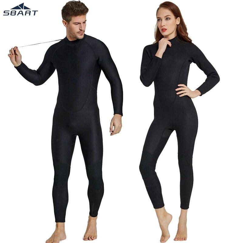Sbart 2mm hommes femmes complet noir combinaison en Nylon néoprène pleine pièce combinaison de plongée sous-marine hiver Zipper combinaison de natation