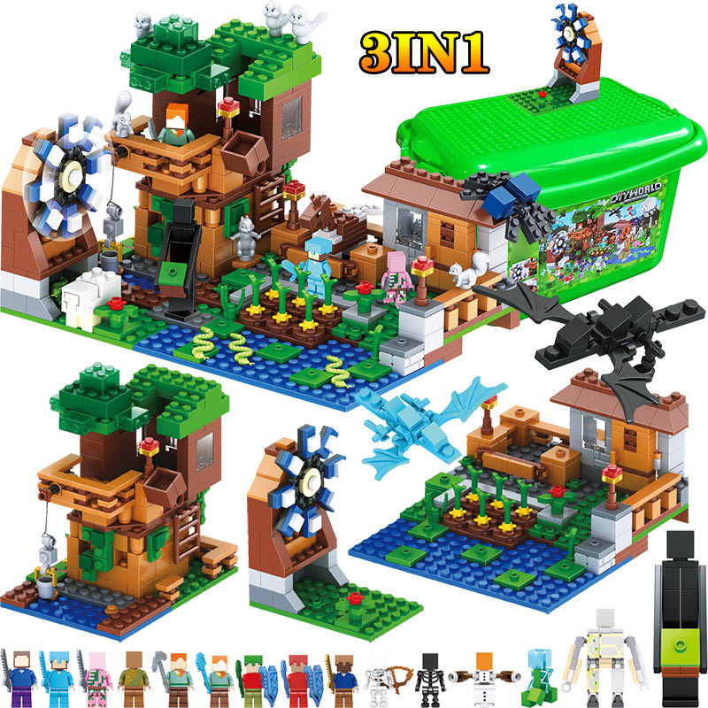 3 IN 1 My World Series Compatible LegoINGLY Minecraft Luxury Tree House Village Farm Building Blocks Windmill Brick Kids Toy realts out of print product village house w base diorama building 1 35 miniart 36031