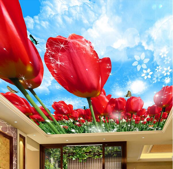 3d room wallpaper custom mural non-woven wall sticker 3 d Tulip garden in the sky  ceiling mural photo wallpaper for walls 3d the woman in the photo