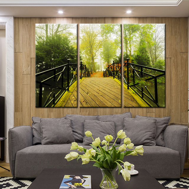 New 3 Pieces/sets Canvas Art 3 Panel HD Waterfall Tree Print Canvas ...