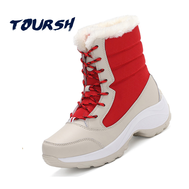 TOURSH Designer Hot Sale Shoes Women Boots Solid Lace-Up Soft Cute Round Toe Flat With Winter Fur Ankle Boots Tenis Feminino 2017 new stylish luxury designer famous flat shoes patchwork round toe lace up shoes wholesale drop shipping