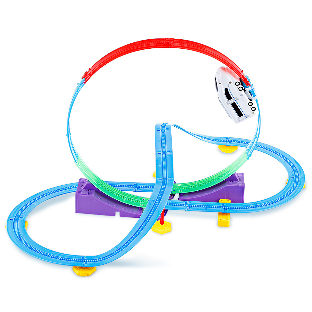 Track Racer Car Rail DIY Model Building Kits Toy Set For Children Track Set That Features 360 Degree Rotating Loop Equipped