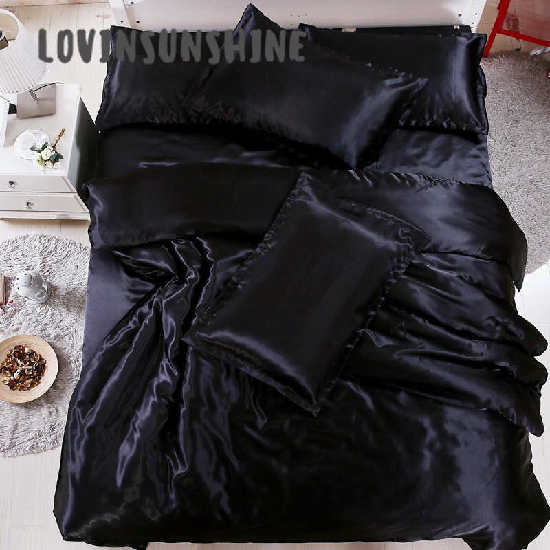 LOVINSUNSHINE Luxury Comforter Bedding Sets Queen Silk Bed Cover Comforter In Solid Color AB#14
