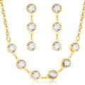 2016 Europe Hot Style Crystal Necklaces And Earrings Jewelry Sets,Top Manufacturer Stainless Steel Sets,Free Shipping