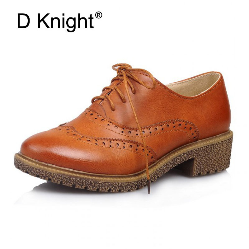 Oxford Shoes Woman Autumn Flats Fashion Brogue Women Shoes Retro Oxford Shoes Women British Style Bullock Lace-up Carved Flats autumn brogue shoes woman casual oxford flats shoes lace up moccasins plus size women ballet flats zapatos mujer british style