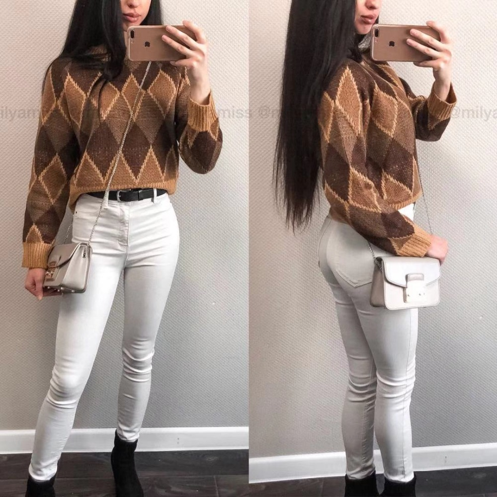Autumn And Winter New Pattern Round Neck Diamond Vintage Women Sweater Geo Casual Loose Jersey Pullover Plaid Harajuku Jumper