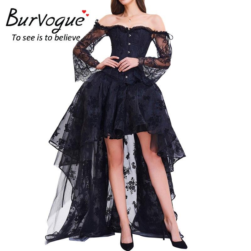 Burvogue gothique bretelles Steampunk Corset robe surbuste Sexy dentelle surbuste femmes Corsets haut bustier Halloween Costume