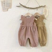 INS/Лидер продаж, вельветовый комбинезон для маленьких девочек, с оборками, спецодежда с рукавами, милый комбинезон для маленьких девочек, детский длинный комбинезон, летняя модная дизайнерская одежда