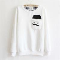OLGITUM Coats Fashion Harajuku Sweatshirt New Autumn Winter Fleece Hat Pockets Mustache Print Coat Women Hoodies