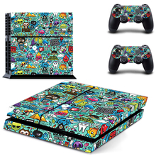 Cartoon Graffiti Decal PS4 Skin Sticker For Sony Playstation 4 Console +2Pcs Controllers 2 patterns