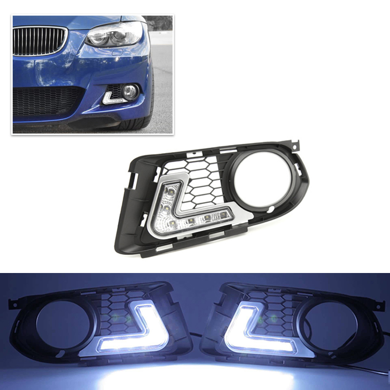 Brand New Led Daytime Running Lights For Bmw E92 E93 LCI 07-10 M Tech Sports Bumper Bar Led DRL Day-Time Fog Lights Cover White led drl daytime running fog lights with pole for bmw 5 series f10 10 m tech m technik daylight fog led head lamp