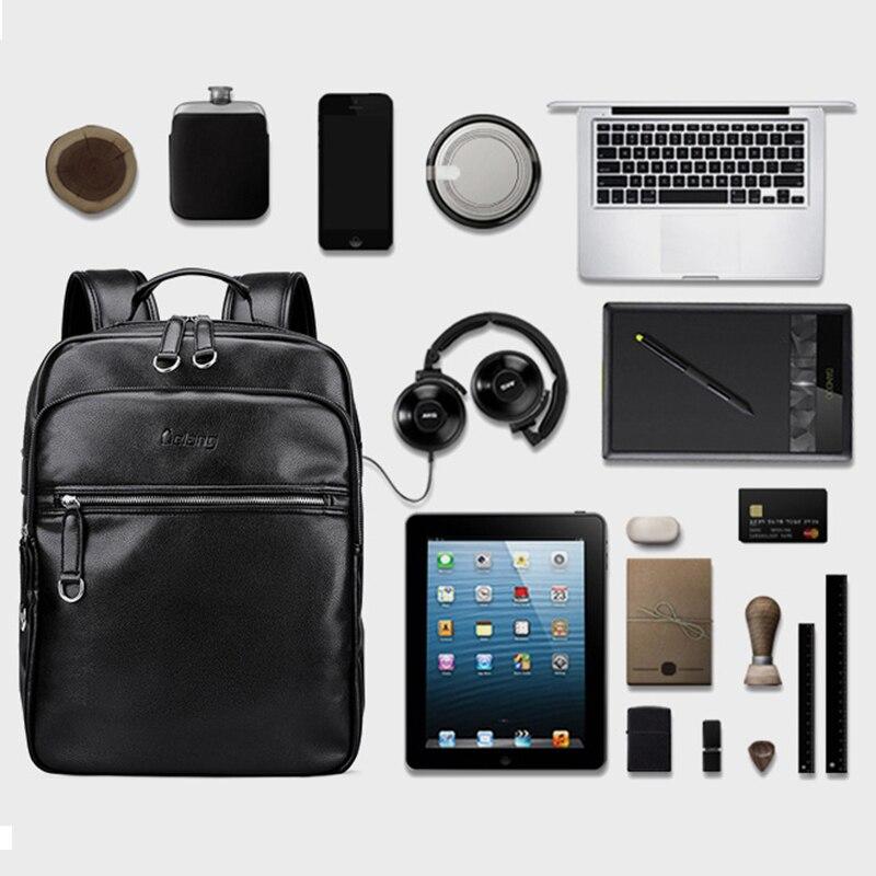 LIELANG 2019 hommes sac à dos mode cuir sacs à dos sacs pour ordinateur portable externe USB Charge ordinateur antivol sac à dos femmes - 3