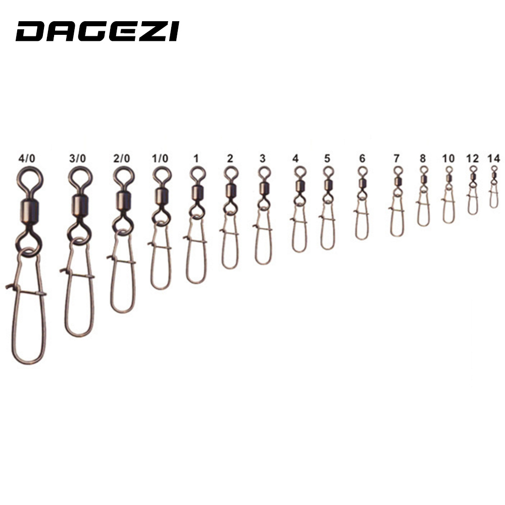 DAGEZI 100pcs/lot Fishing Connector Rolling Swivel Pin Bearing Rolling Swivel Stainless Steel With Snap Fishing Accessories