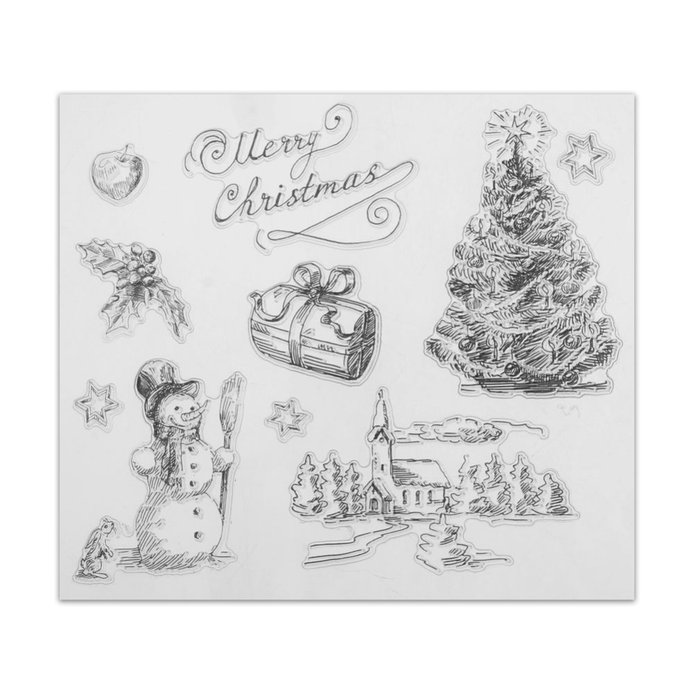 Christmas Transparent Clear Stamps Xmas Tree Snowman
