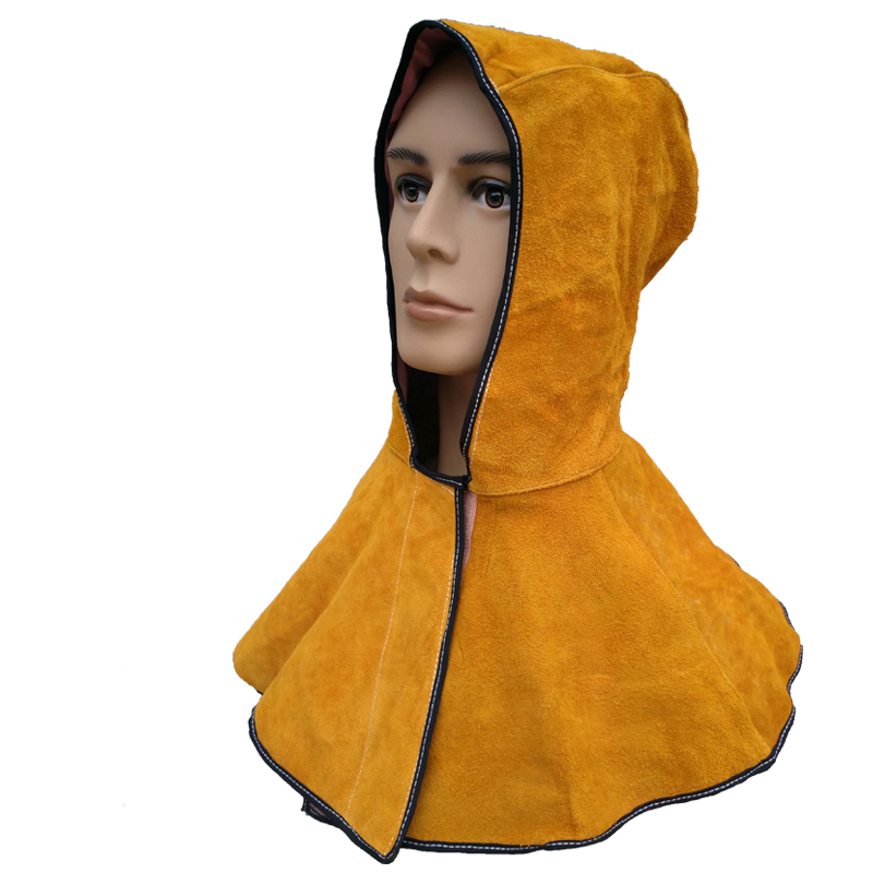 Head Protection Welding Safety Cap Cow Leather Double-welded Shawl Cap One Size Safety Garment for Welders 110311 new safurance welders dual leather