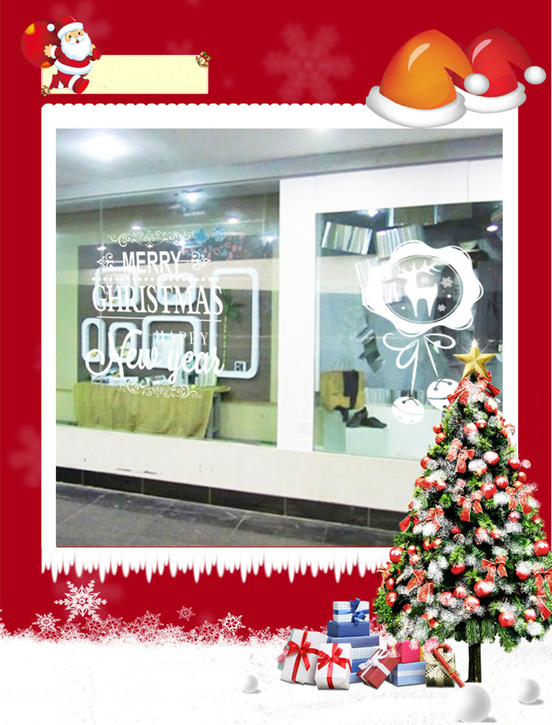 50x70cm 2019 Merry Christmas Decorations for Home New Year Shop Glass Window White Deers Bell Decorative Stickers Navidad Natal  (11)