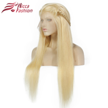 Wicca Fashion Full Blonde 613 # Färg Brazilian Remy Mänskligt Hår Full Lace Paryk Densitet 130% 150% Rak Hårspetsparyk