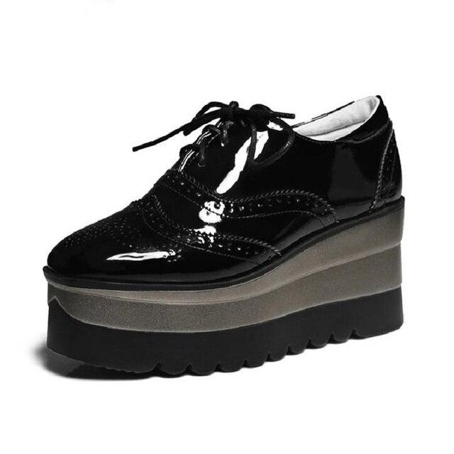 02c797131db7 New Fashion Women High Platform Wedge Lace Up Round Toe Oxford Creeper  Shoes High Heels Platform Pumps British Tide Stars Shoe